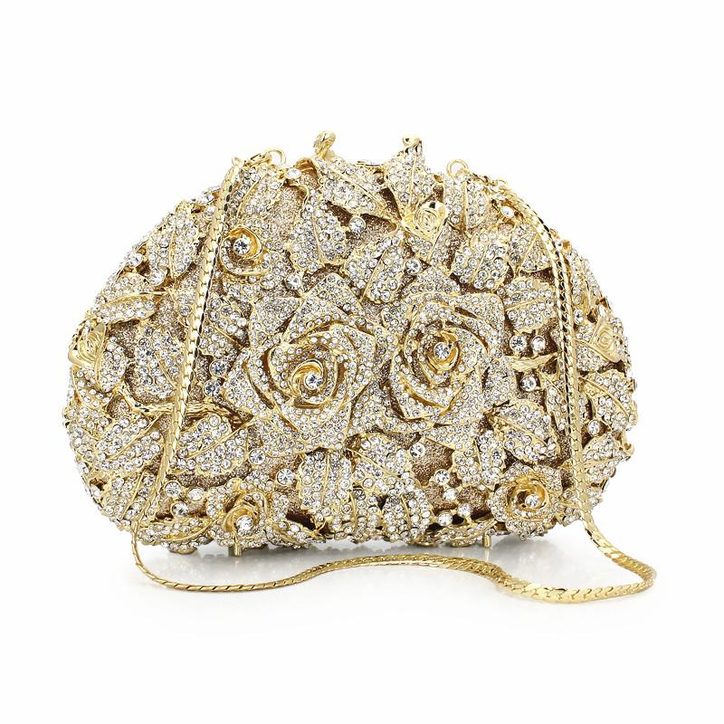 e6eb375faa418e Rose Hot Sale Women Purse Bag Gold Chain Rhinestone Crystal Clutch Evening  Bag Floral Pattern Pakistani Bridal Clutch88162A GS Italian Leather Handbags  ...