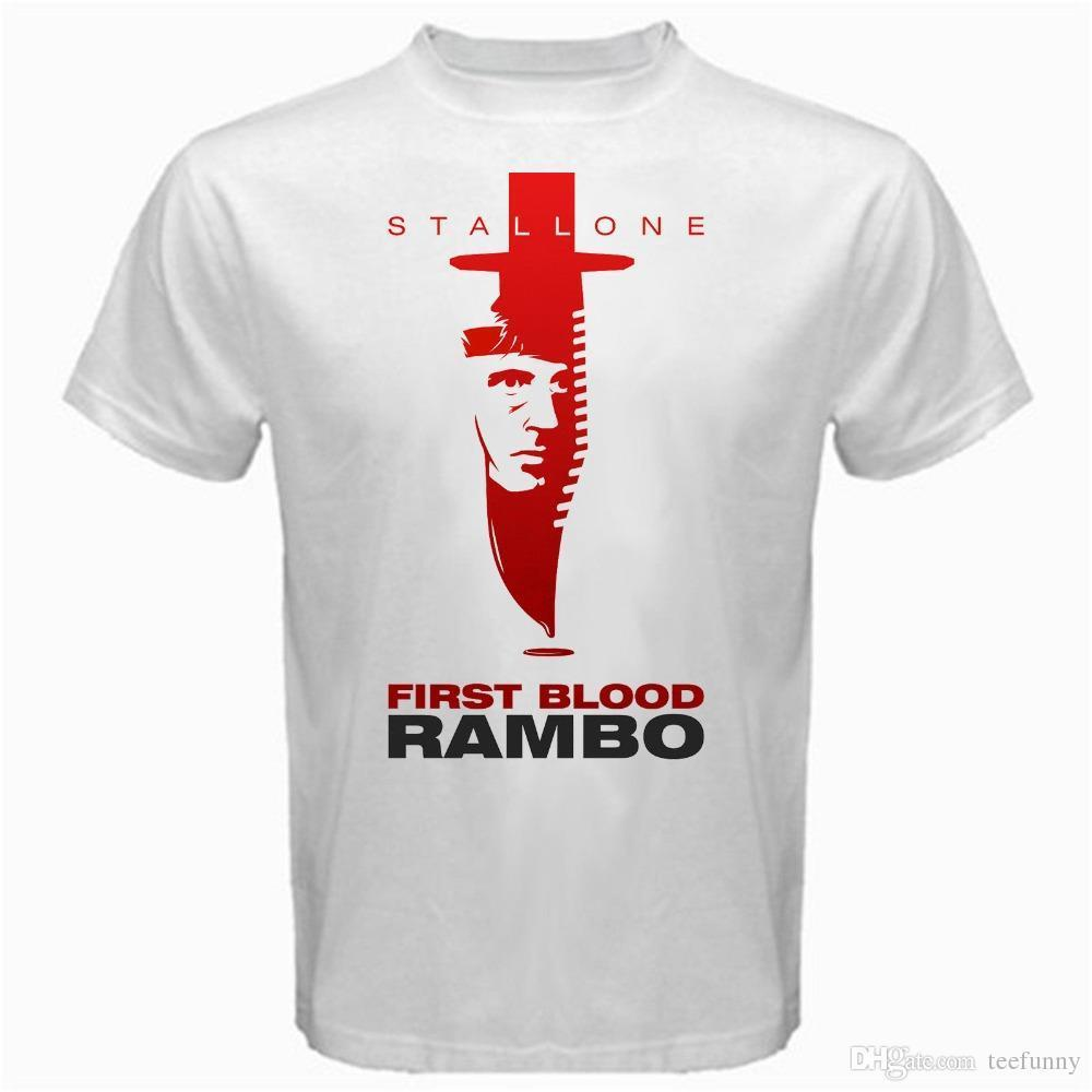 2018 Best T Shirts John Rambo first blood movie sylvester stallone stallion  Tshirt White vintage Funny Casual Clothing