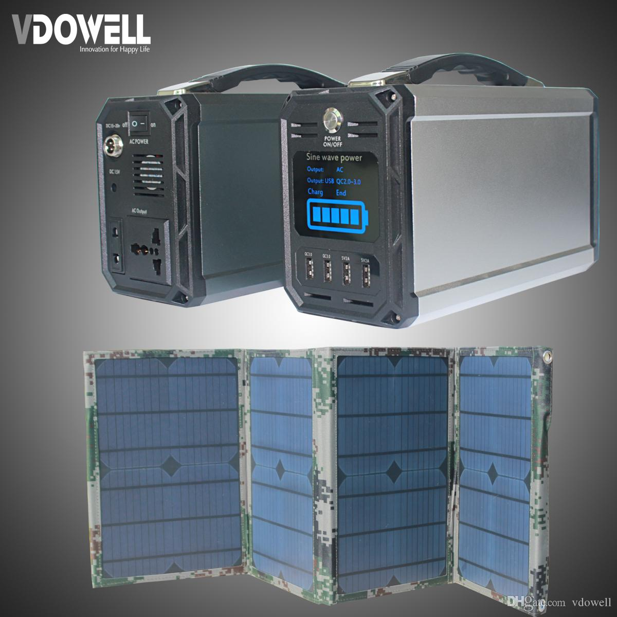 300wh 60000mah High Capacity Battery Solar Portable Power Station Charger With Overcharge Protection Electronic Electric Energy Storage Box 30w Panel Ac 220 110v Usb Qc30