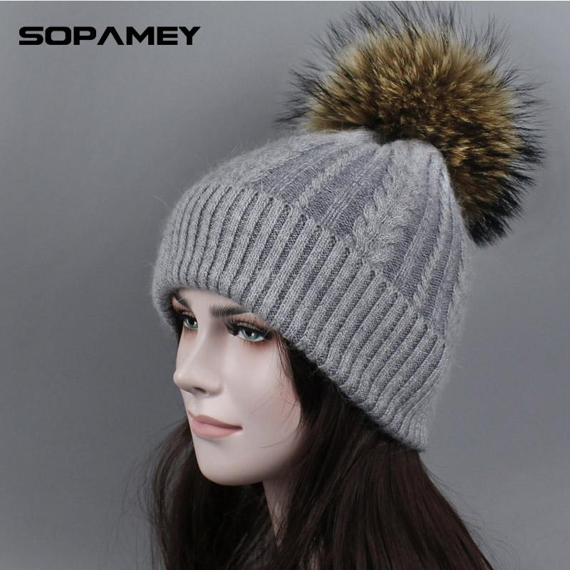 e94b97cb90e Women Real Fur Pom Pom Hat Female Autumn Winter Rabbit Knitted Beanies Fur  Cap Girls Cashmere Natural Raccoon Pompom Hat New Winter Hat Cool Hats From  ...