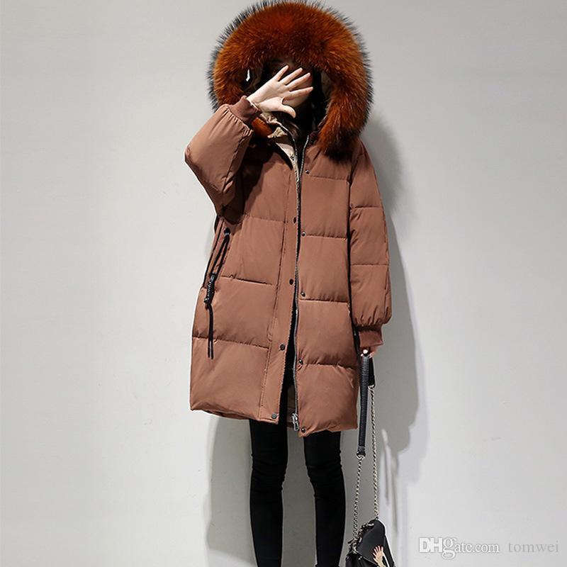 Natürlicher Waschbär Pelz Mantel Frauen Winter Parkas Entendaunen Jacken wärmen Outwear Mantel Schnee Kleidung 2018 Neue Ankunft plus Größe