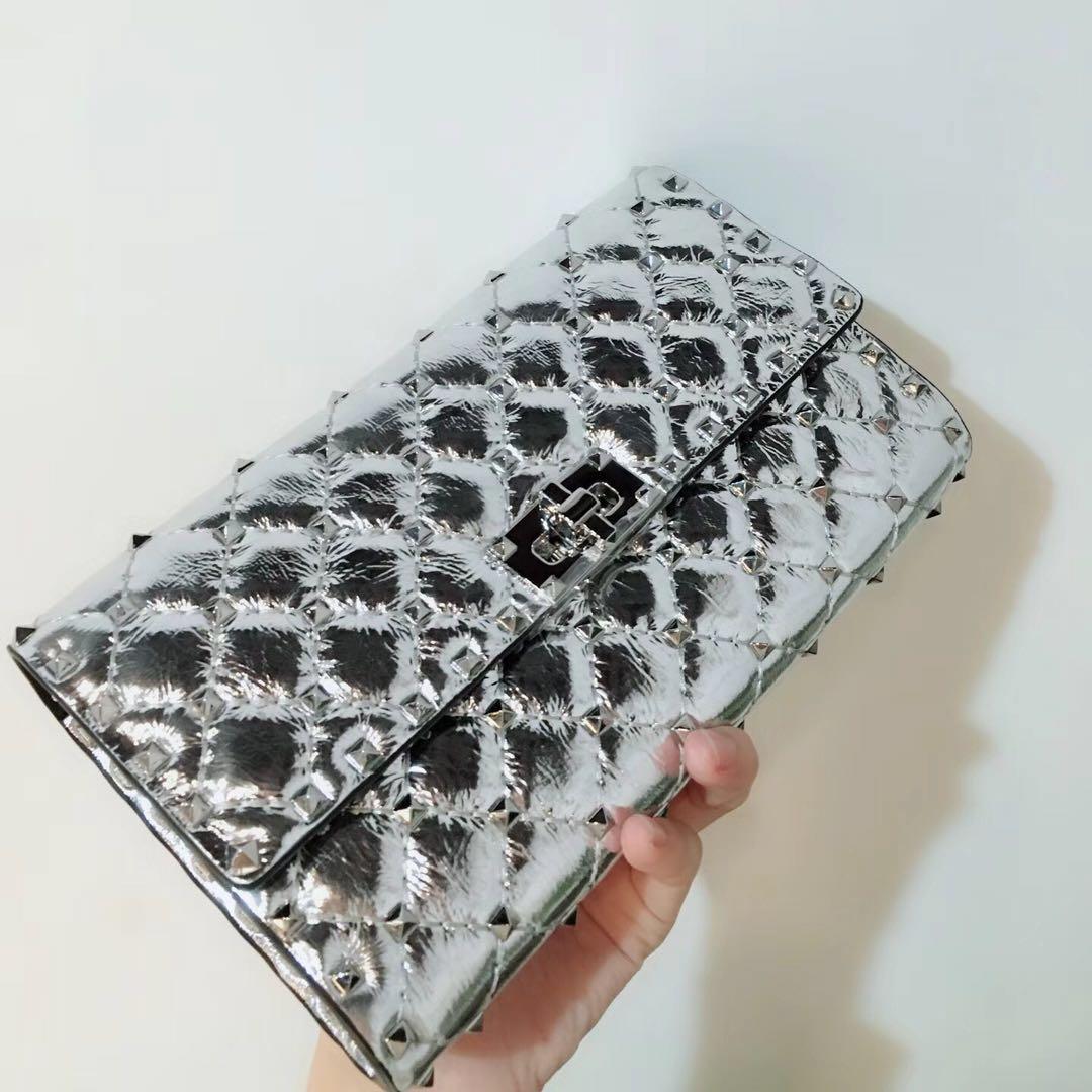 fashionville~top quality~w201 silver genuine leather spike clutch bag chain bag 23.5*14.5*4.5cm