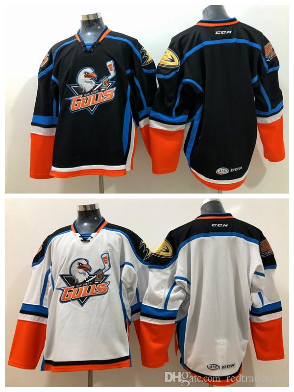 2018 San Diego Gulls Hockey Jersey Mens Home Blue Road White Stitched Blank Hockey  Shirts Cheap New M XXXL UK 2019 From Redtradesport 44fc78a5339