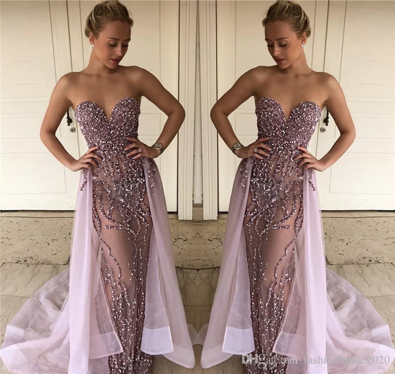 20131d5f32a Lalic Mermaid Sparkly Prom Dresses 2018 Sweetheart Beads Crystal Sleeveless  With Detachable Train Plus Size Formal Cheap Evening Party Gowns Prom Dress  ...