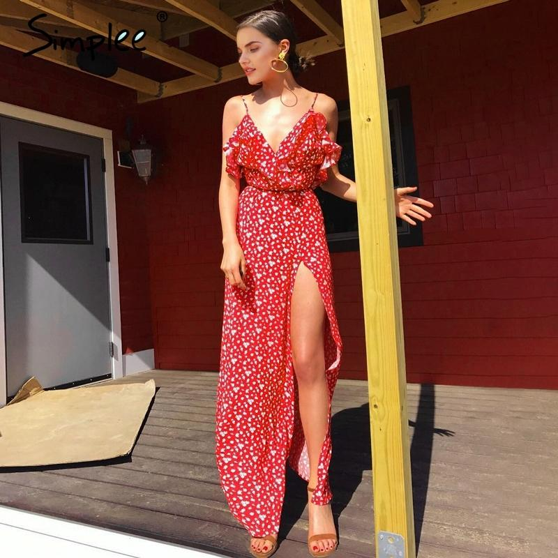 25d10f64bd3b0 Simplee V neck ruffle floral print summer dress women Backless strap boho  dress long Sleeveless split maxi beach dress vestidosY1882301