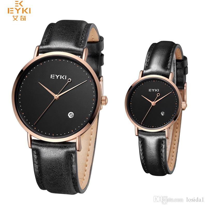 6f02a7ec0048 New Luxury EYKI Brand Couple Watches Mens Business Leather Quartz ...
