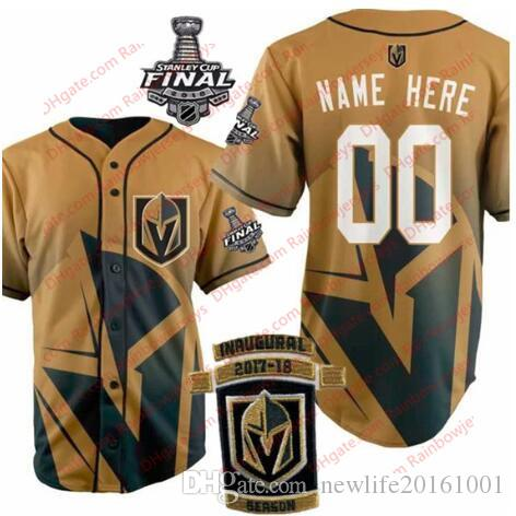 promo code a63c0 4a230 Custom Vegas Golden Knights Baseball Jerseys #71 William Karlsson James  Neal Fleury Marchessault 2018 Stanley Cup Inaugural Patch Gold S-3XL