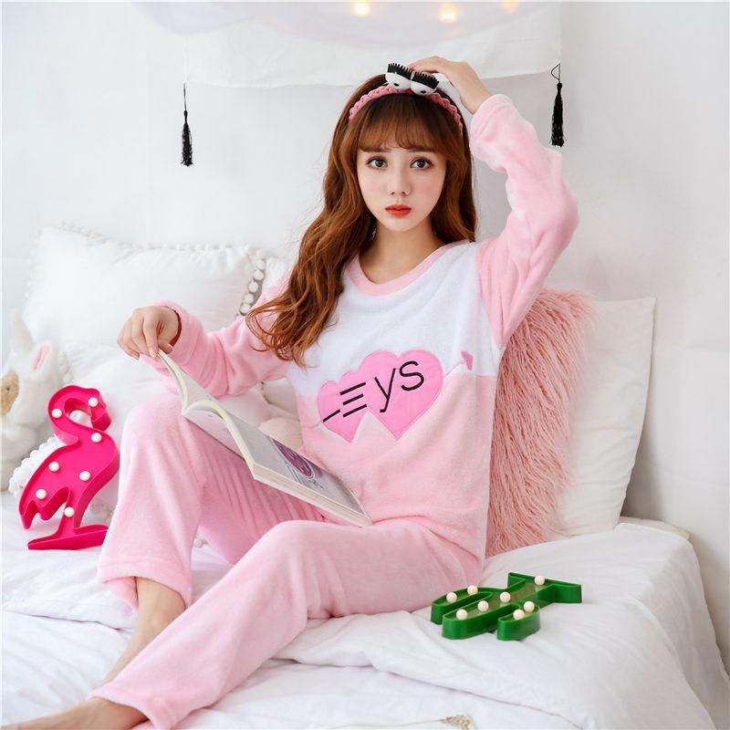 5b653b7b22 Compre Invierno Mujer Pijama Poliéster Pantalones Llenos De Dama Conjunto  De Pijama De Dos Piezas Perro De La Historieta Imprimir Casa Ropa Pijamas  De ...