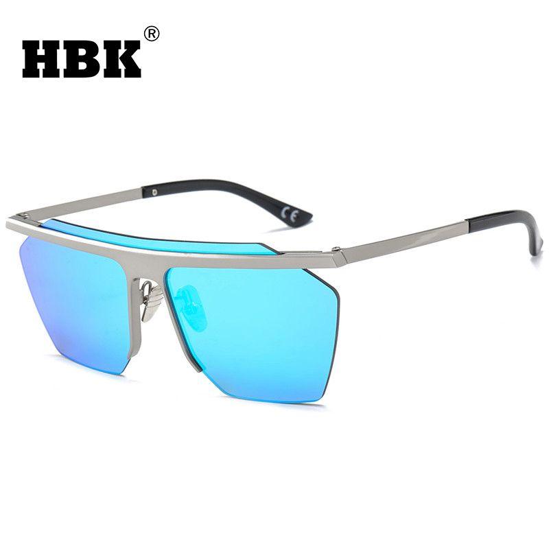 a97c1411987 HBK Square Vintage Mirror Rimless Sunglasses Polygon Metal Gold Shade  Fashion Big One Piece Lens Sunglasses Men Women UV400 Boots Sunglasses  Tifosi ...