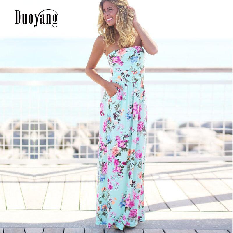 316d6edb36 2019 Sexy Women Dress Strapless Sleeveless Summer Long Dress 2018 New Beach  Floral Print Beach Dress Women Maxi DressY1882302 From Zhengrui06