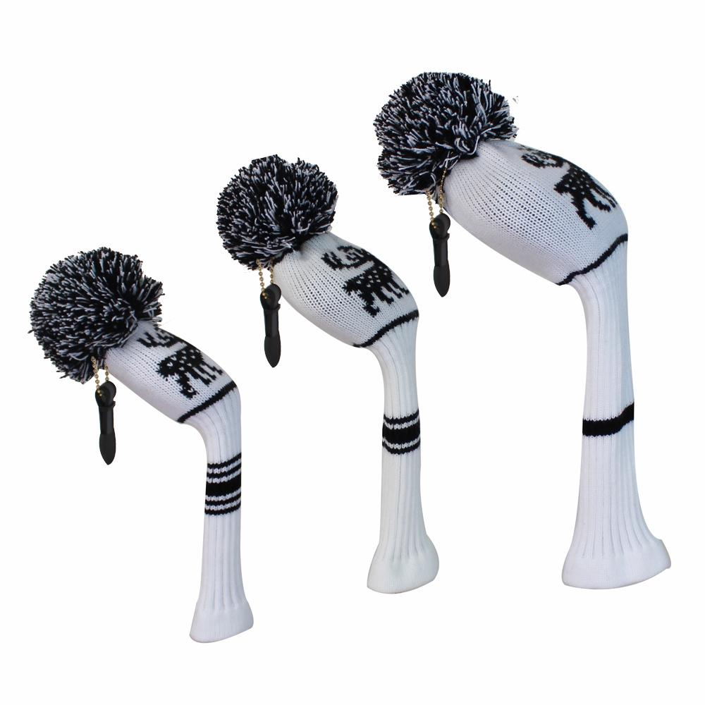2018 White Color Golf Headcovers With Deer Pattern Knitted, Set Of 3 ...