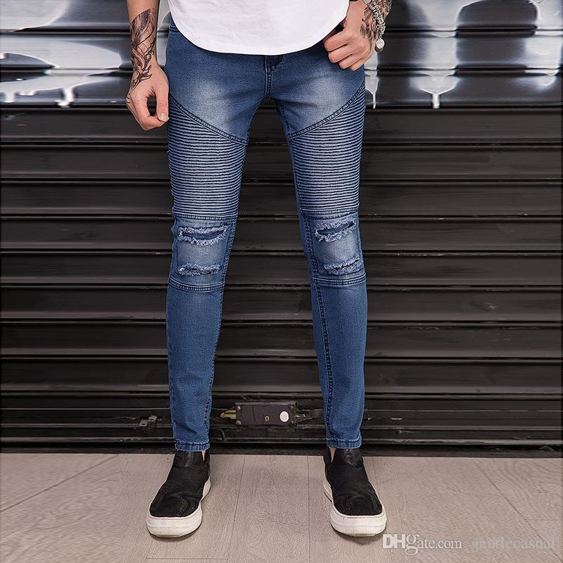 bb377f6b11 2019 Men Slim Fit Jeans High Street Blue Denim Biker Jeans Draped Ripped  Distressed Holes Motorbike Long Jean Trousers From Gentlecasual, $51.06 |  DHgate.