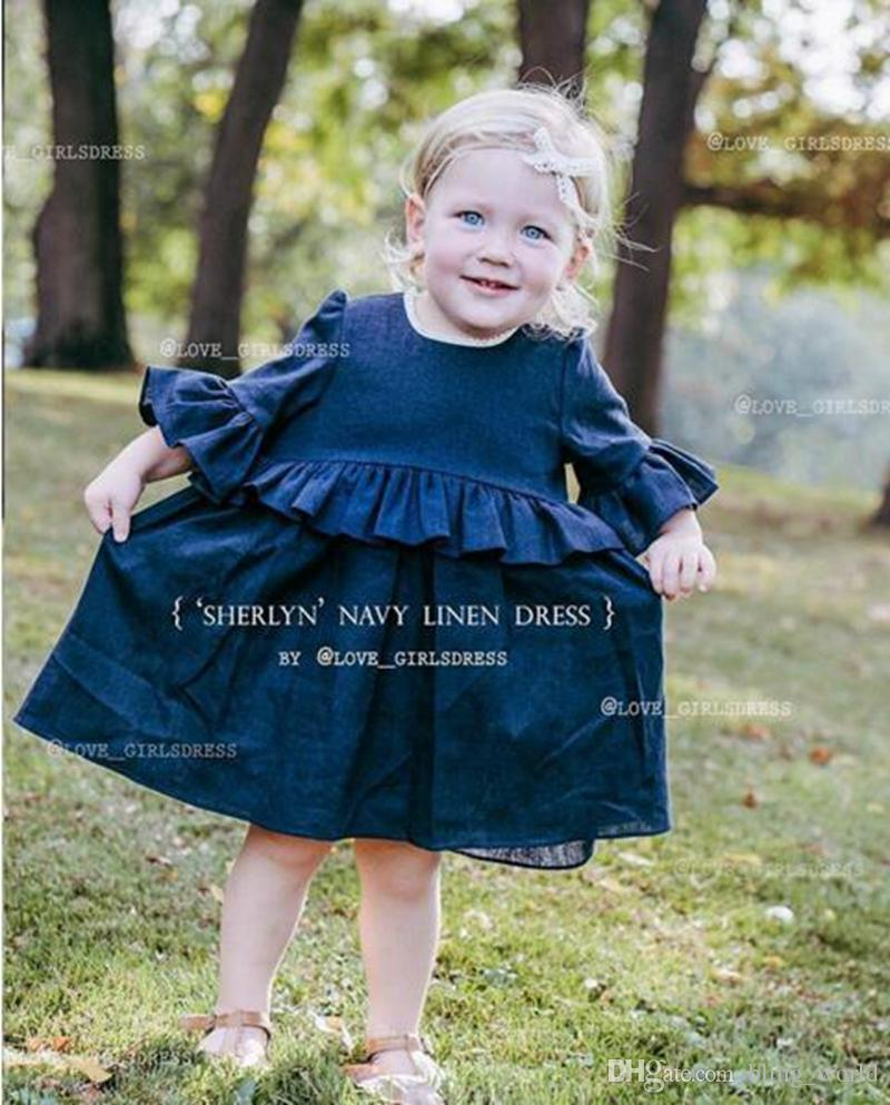32dc7c9bec1c 2019 INS Girls Dresses Girls Denim Blue Dresses Girls Flutter Sleeve Casual  Dresses Baby Ruffle Princess Dress Kids Baby Clothes YL226 From  Bling world