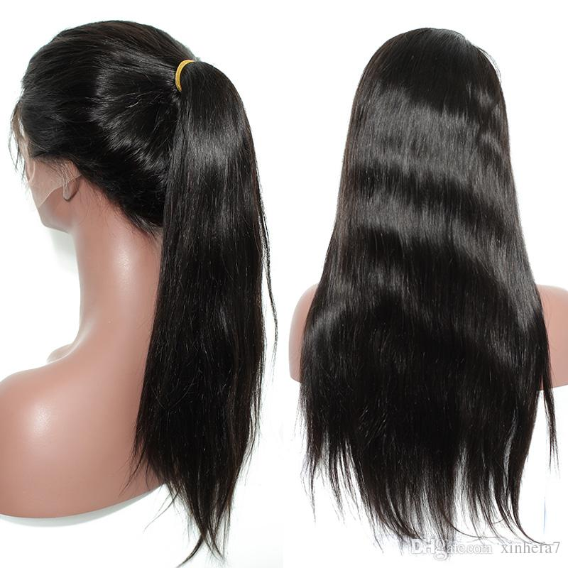 Free Parting 4x4 Silk Top Glueless Full Lace Wigs Silky Straight Virgin Peruvian Full Lace Human Hair Silk Base With Baby Hair