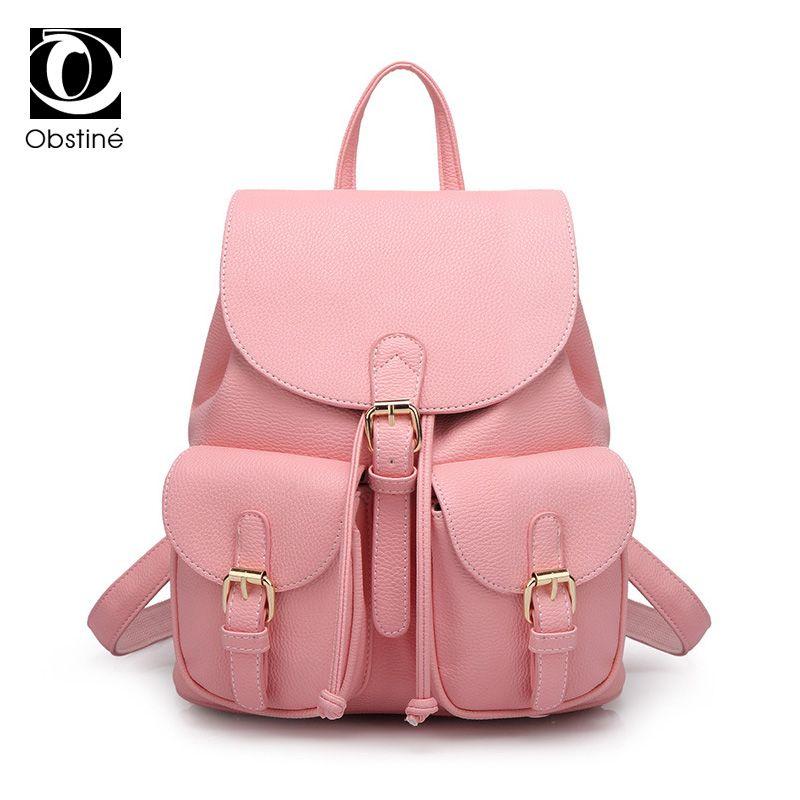 Fashion PU Leather Backpack Women Bag Female