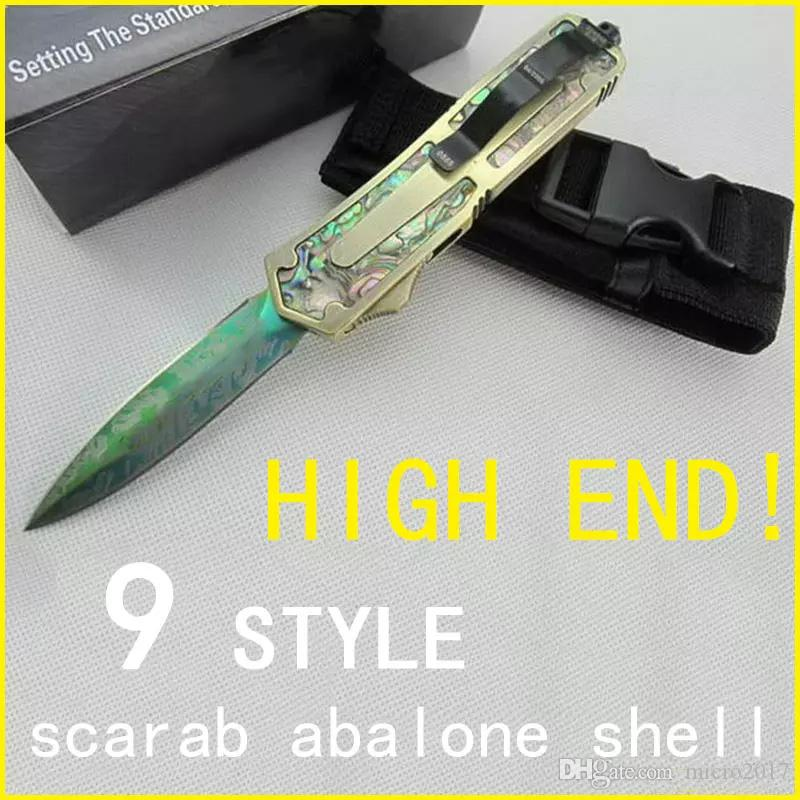 automatic knife Abalone Shell Double Action A07 D07 A162 Hunting Pocket folding Survival Knife