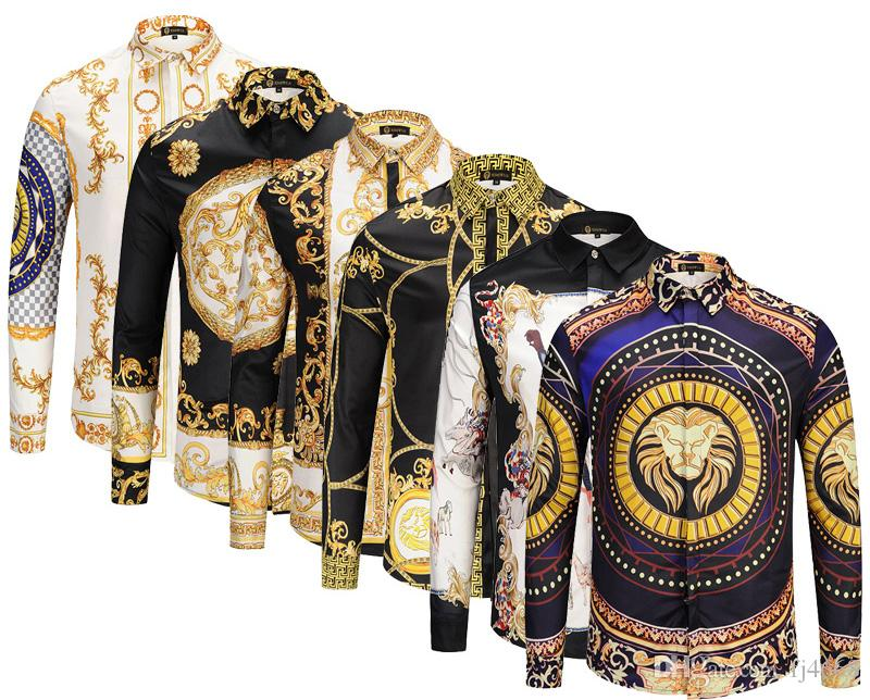 aaa539f95d Compre 2018 Primavera Otoño Medusa Vestido Estampado Harajuku Hombres Slim  Fit Camisas Para Hombres Negro Imprimir Casual Tops A  17.79 Del Fj4668