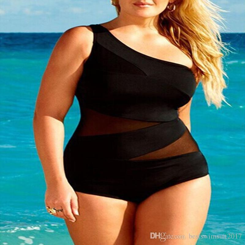 22cb0093969 2019 Plus Size Swimwear Women 2018 Fashion Black Mesh One Piece Swimsuit  Women Single Shoulder Swim Wear Bathing Suit Cheap Lady Sexy Beachwear From  ...