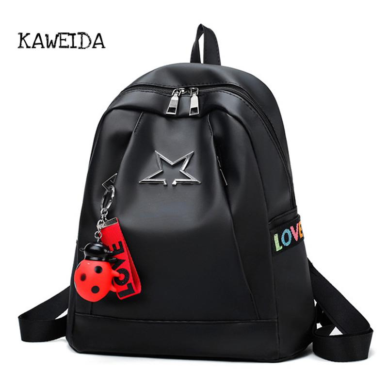 913fcad048c 2018 Girls Nylon Backpack Women Casual Backpacks Ladies Big Black  Waterproof Lightweight Schoolbag Teenager Travel Bags rucksack