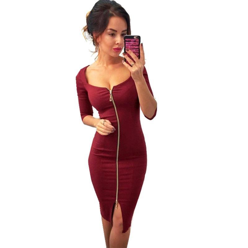 f25067148 Compre Vestido De Fiesta Sexy Para Mujer Mujer 2019 Primavera Y Otoño Negro  Azul Hasta La Rodilla Elegante Bodycon Vaina Vestidos Ocasionales Con  Cremallera ...