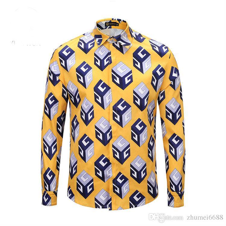 ecd84a9748 Compre 2018 Otoño Invierno Manga Larga Camisas Ocasionales Hombres Camisa  De Vestir Impresa Color Imprimir Slim Fit Medusa Camisas De Seda A  27.42  Del ...