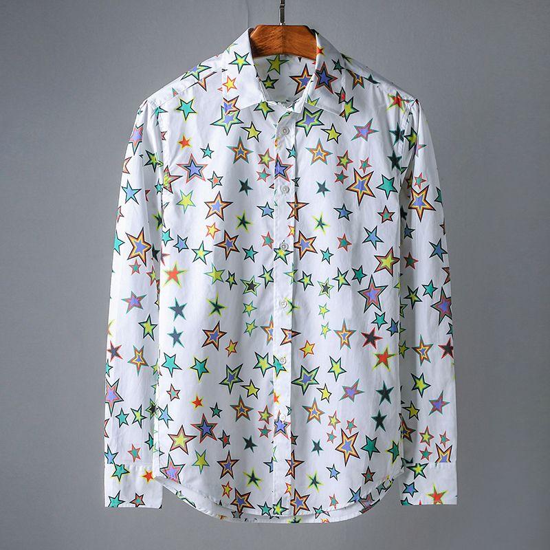 Haute Poche Full Casual Mode De Automne Star Longues Pour Manches À Coton Shirts Top Qualité Hommes Chemise Color K135clJuTF
