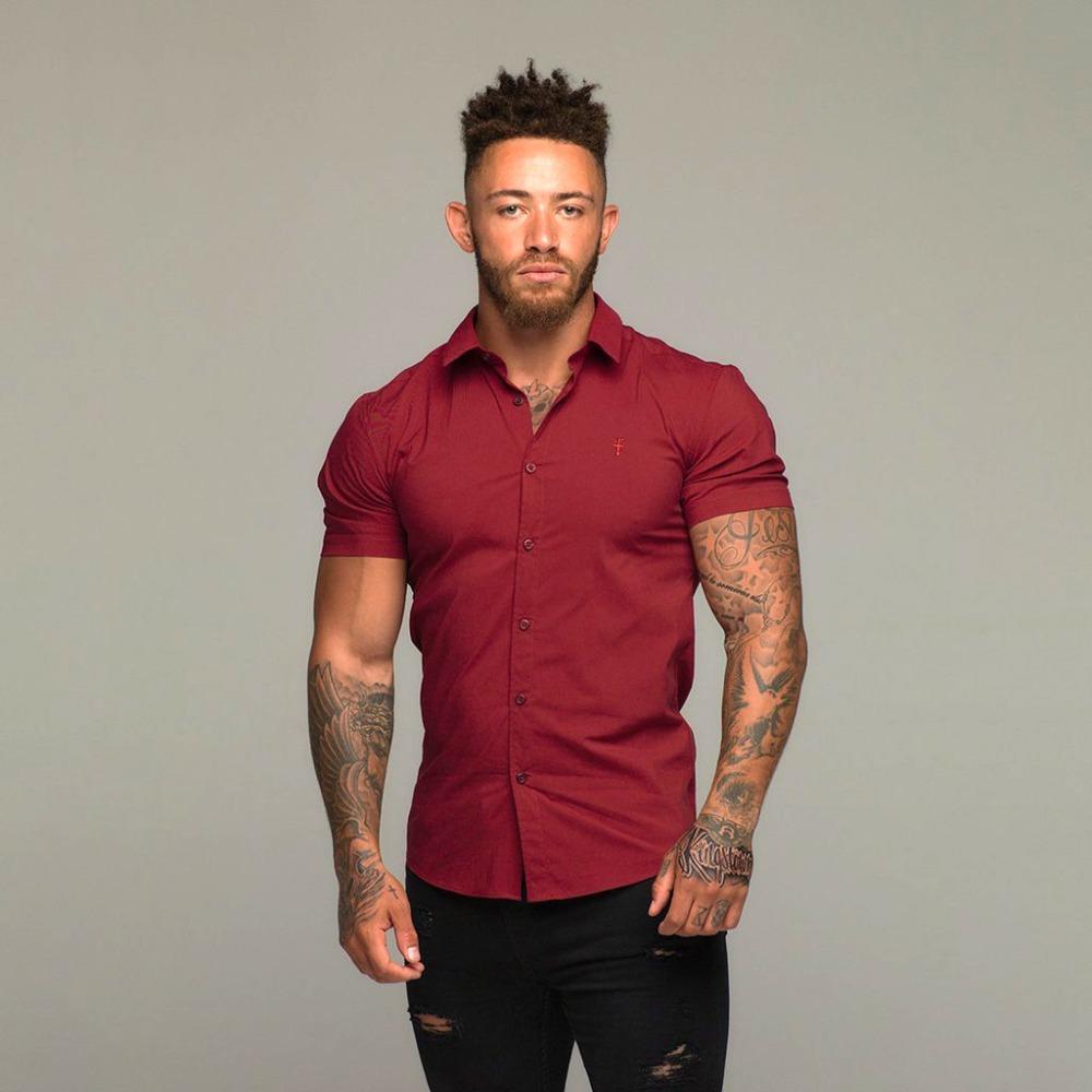 96e4d51b3c5b8 Satın Al 2018 Avrupa Yeni Pamuk Keten Gömlek Adam Yaz Erkek Kısa Kollu  Gömlek Kırmızı Şarap Iş Elbise Turn Aşağı Yaka, $37.37 | DHgate.Com'da