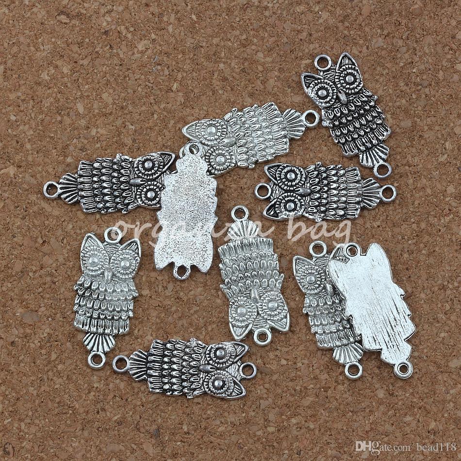 MIC 100 unids / lote Encantos búho conector 12.8 * 28.5mm Joyería de Plata Antigua DIY Fit Collar de Pulseras F-1