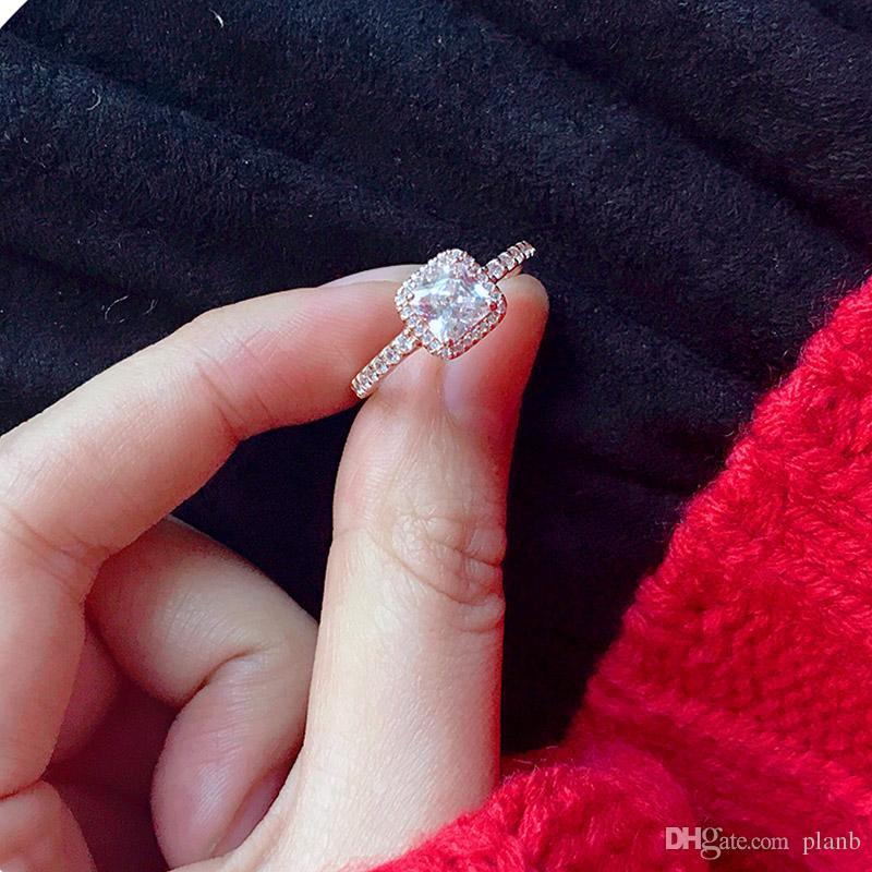 Gerçek 925 Ayar Gümüş CZ Elmas RING LOGO Orijinal kutusu ile Fit Pandora stil 18 K Altın Kadınlar için Alyans Nişan takı