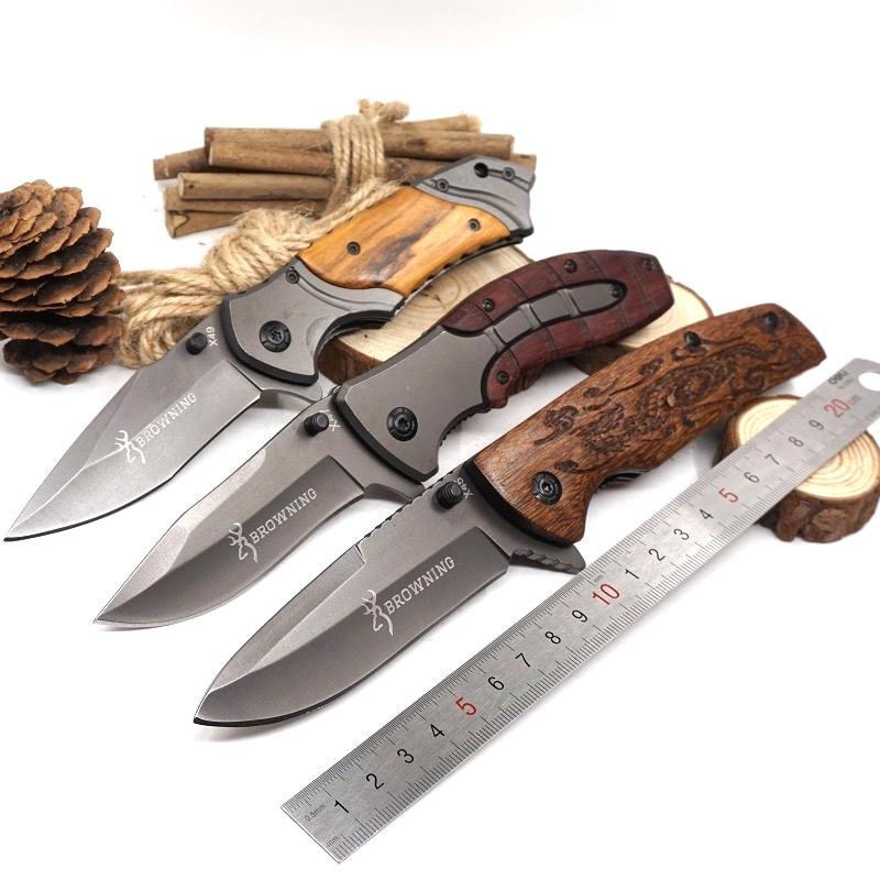 Browning Folding Knife Camping Hunting Pocket Knife 5cR15 Blade Steel+Wood Handle Tactical Survival Knives Outdoor Multitool
