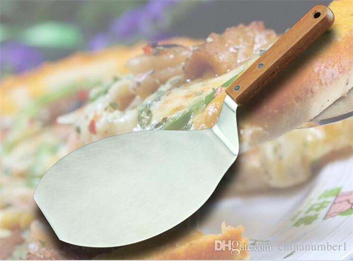100 adet Noel malzemeleri Ahşap Saplı Paslanmaz Çelik Kek Kaldırıcı kek Pizza Sunucu Çerez Spatula Büyük Pizza Kürek C053