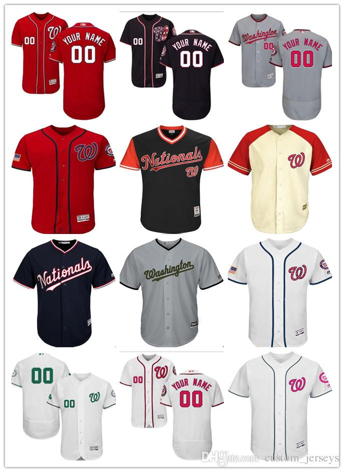 7daaac66584 Custom Men Women Youth Majestic Nationals Jersey Personalized Name ...