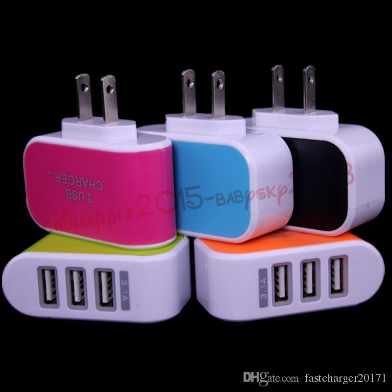 AC Home wall charger 3.1A Three Usb ports Eu US travel adapter plug for iphone 5 6 7 for samsung galaxy s4 s6 s7 note 2 4 mp3