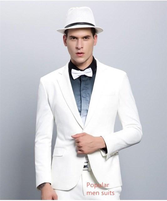 a4dad573c5dd5 Compre Blanco De Alta Calidad Terno Slim Fit Formal Blazer 2 Piezas Trajes  De Boda Para Hombres Custome Homme Tuxedos Chaqueta + Pantalón + Corbata A  ...
