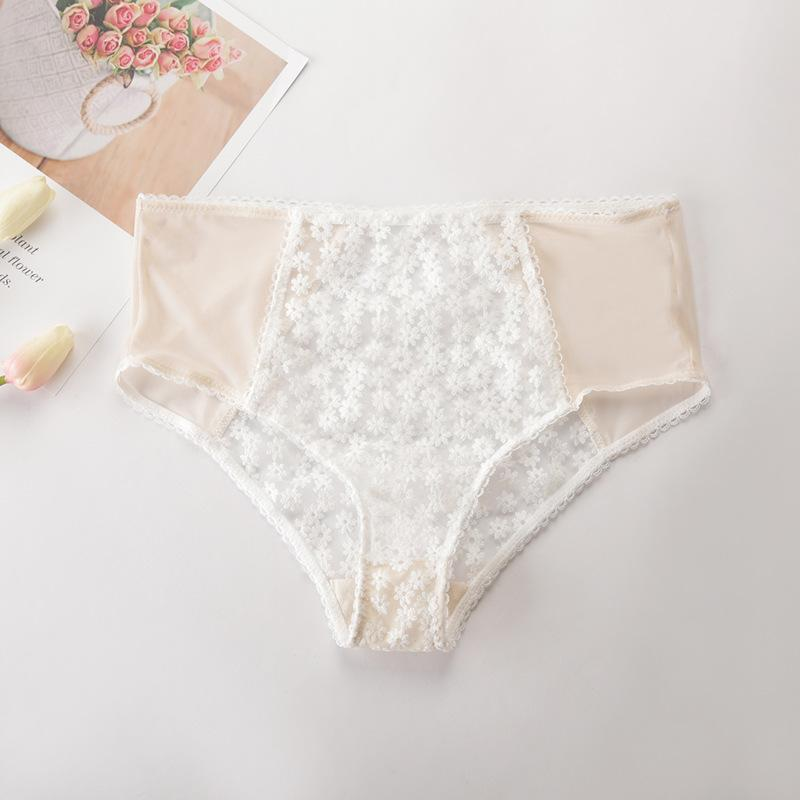 Women Lace daisy Panties Semi Sheer Patchwork transparent high-Rise embroidery Female Briefs Floral white Sexy Underwears