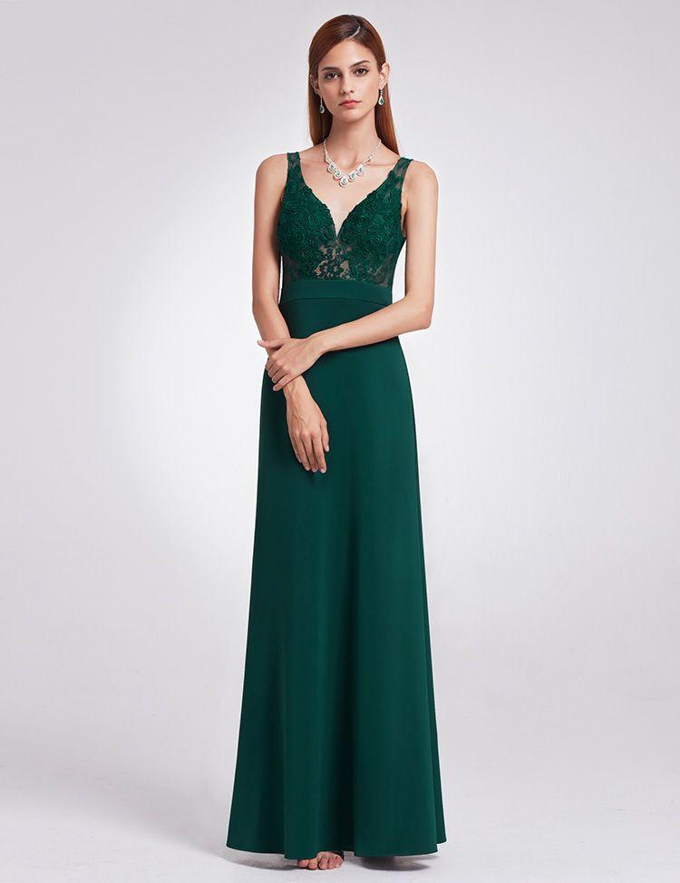 High Quality Work Evening Dress Elegant Shoulder Thin Large Dark Green V Sexy High Waist A Word Dress Long Party Dresses