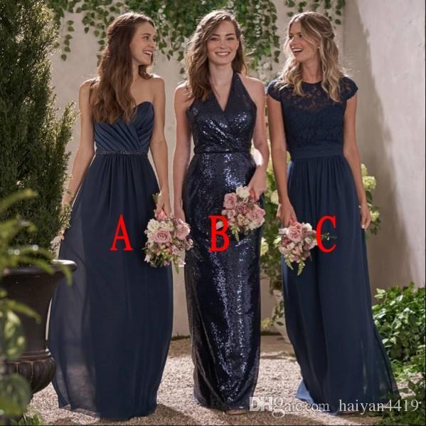 Brautjungfer Kleider für Hochzeiten 2018 Navy Blue Sweetheart V-Ausschnitt Pailletten Eine Linie Spitze geraffte Plus Size Trauzeugin Hochzeitsgast Kleid