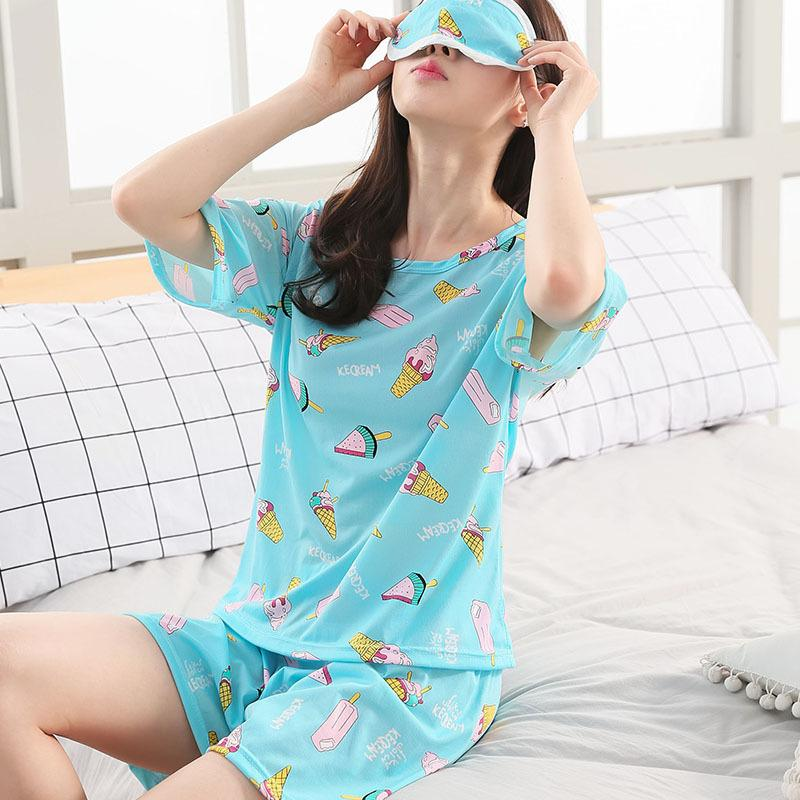 8fbf5fd65ddb 2019 Pajamas Set For Women Summer Short Sleeve Cartoon Cute Sleepwear Girl  Pijamas Mujer Nightgown Women Gift Young Girl Sleepwear From Berniee