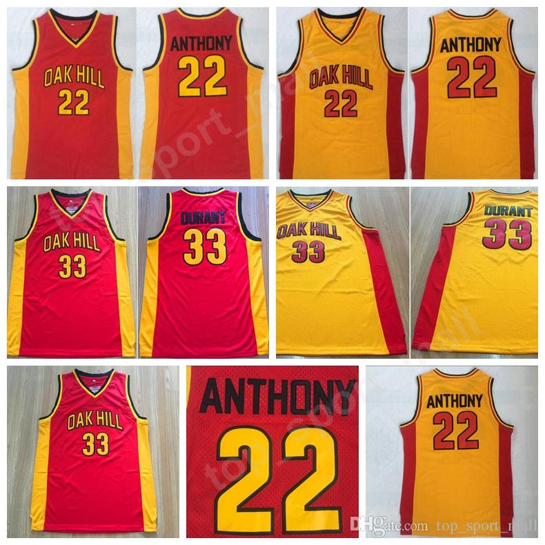 4c5985f4de5 2019 Oak Hill 33 Kevin Durant 22 Carmelo Anthony Men High School Basketball  Jerseys College Team Red Yellow Color Stitched For Sport Fans Uniform From  ...