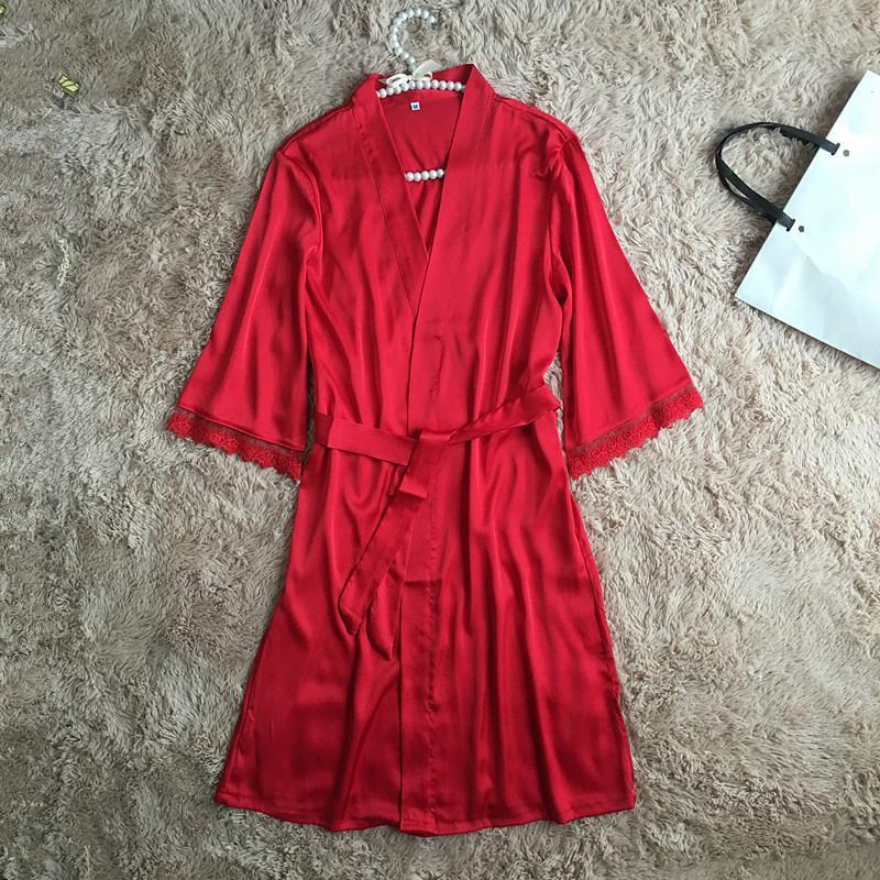 2019 Sexy Women Bace Satin Sleepwear Robe Elegant Red Bridesmaid Bride  Wedding Robes Kimono Bath Fowns Home Wear Lingerie Nightwear From  Beautyjewly 00ac42de7