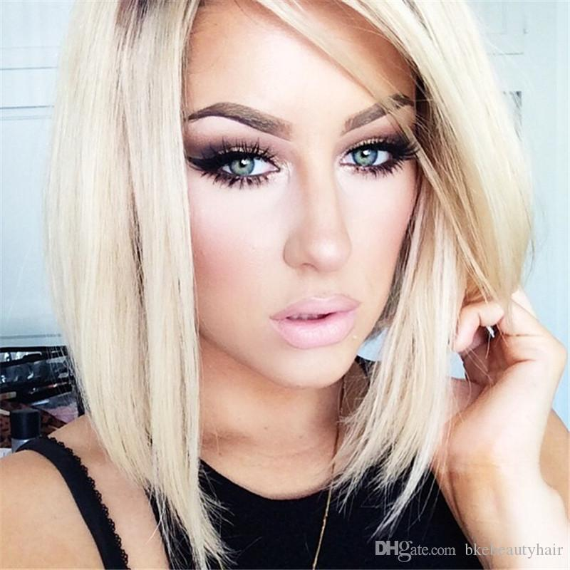 Fashion brown roots ombre blonde color wig Heat Resistant Hair short bob Synthetic Lace Front Party Wig for women
