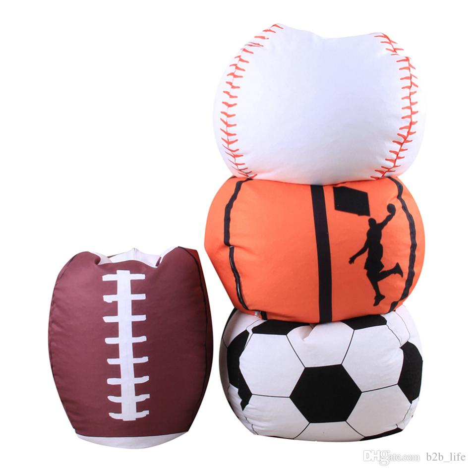 Football Basketball Baseball Storage Bean Bag 18inch Stuffed Animal Plush Pouch Bag Clothing Laundry Storage Organizer 4 Colors OOA4773