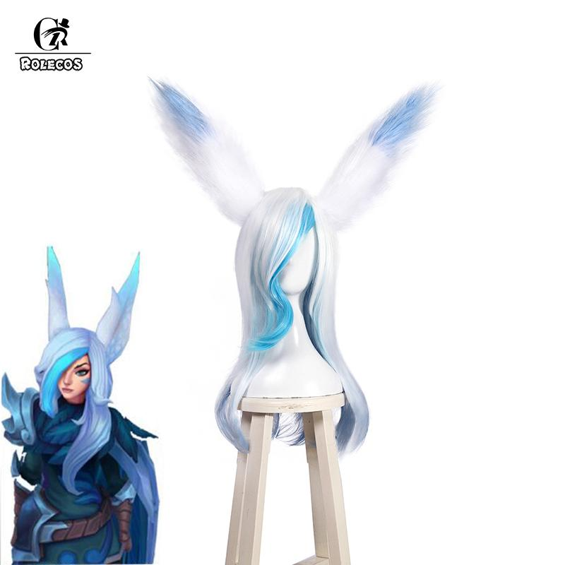 ROLECOS Game LOL Cosplay Hair Xayah New Skin Cosplay Headwear Long Hair  with Ear 60cm Blue and White Synthetic for Women