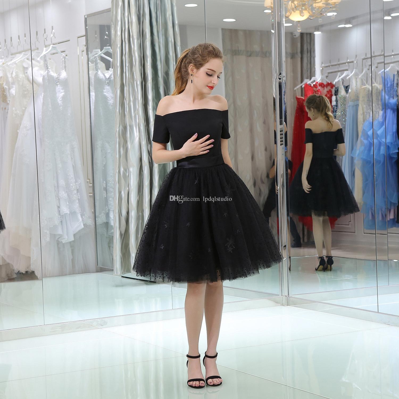 Sexy Black Party Robes à manches courtes de l'épaule Robes Cocktail Robes Tulle Dentelle Robes 2018 Nouvelle arrivée Livraison gratuite