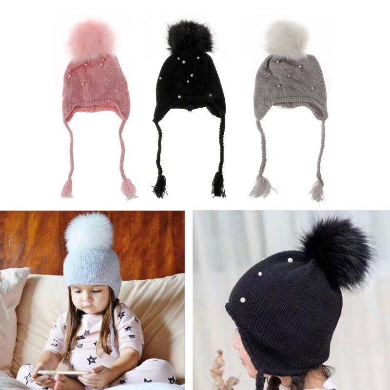 c223b6d3f70 2019 2018 New Cute Kids Babies Beanies Caps Child Crochet Winter Warm Knit  Hats Cap Baby Boys Girls Beading Hair Ball Earbud Hat Hot From Buycenter
