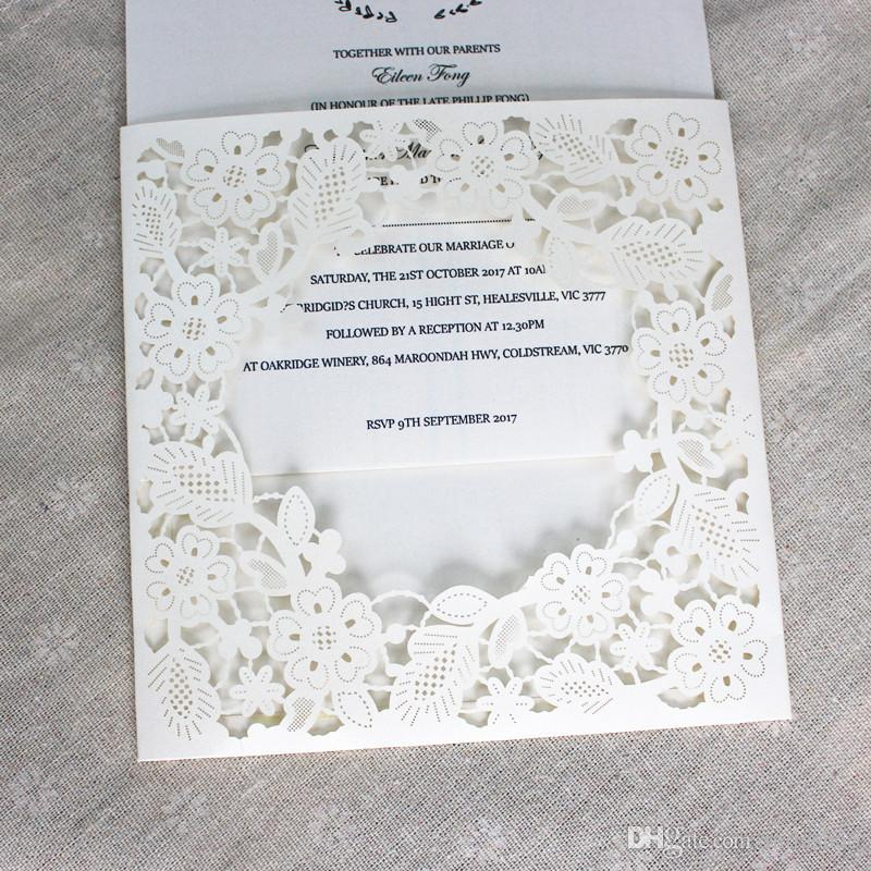 Pocket Invitation Envelop White Flower Laser Cutting Wedding