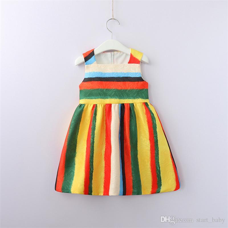 ff2add578 2019 Everweekend Kids Girls Summer Colorful Striped Western Fashion ...