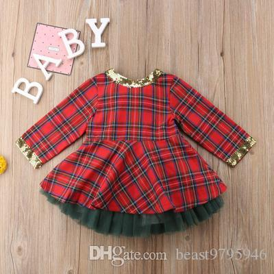 d4c97775f kids baby girls dresses with gauze green skirt 2018 autumn winter european  christams newborn baby red plaid dress with big bow