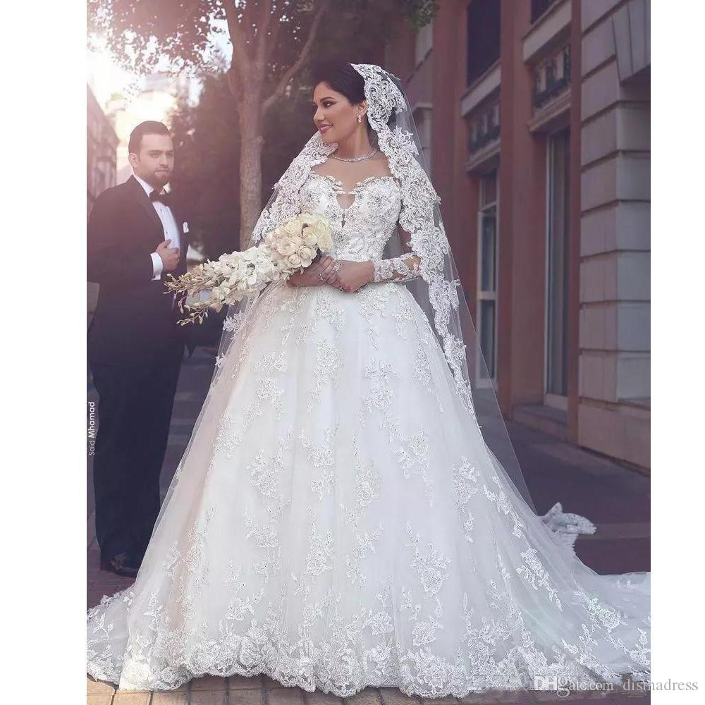 Discount Vintage Ball Gown Wedding Dress Illusion Jewel Long Sleeve ...