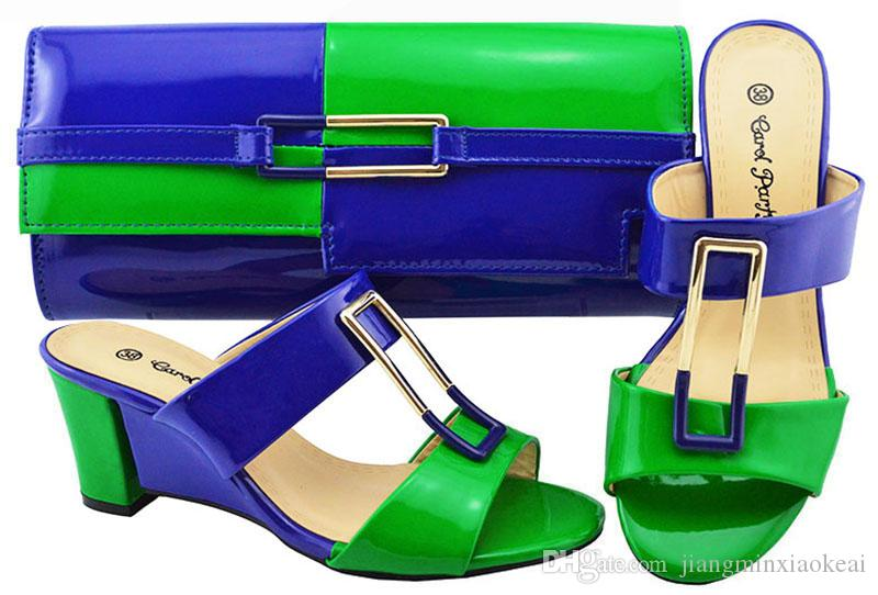 3df1dd5dc1 Großhandel Neue Damen Italienischen Schuhe Und Tasche Set Royal Blau +  Grüne Farbe Afrikanische Schuhe Und Passende Taschen Italienische  Nigerianischen ...